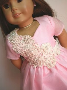 Pink  Satin  Dress  Pearls American Girl Doll by fashioned4you