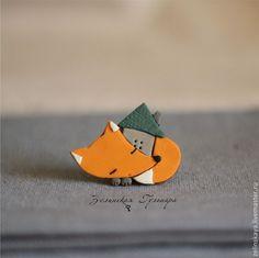 Лисичкин домик. Брошь - оранжевый,лисичка,лисенок,домик,брошь лиса,брошь из полимерной глины