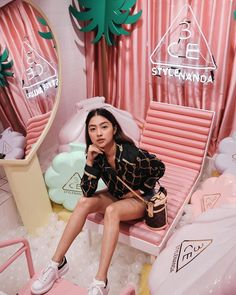 Saw this store by accident here in BKK! Vlogmas Day 3 is out already! Clickable link in bio 💝 3ce Stylenanda, Cool Poses, Fitspiration, Girl Crushes, Kids Shop, Korea, Motel Mexicola, Outfits, Person Sitting