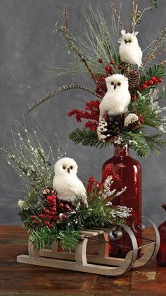 Decorating with RAZ White Feathered Owls from the 2013 RAZ Aspen Sweater Collection...see the Blog post at Trendy Tree for more images and ideas from this collection http://www.trendytree.com/blog/raz-aspen-sweater-collection-decorating-ideas/