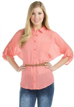 Cato Fashions Lace Shoulder Belted Equipment Shirt - Plus #CatoFashions #CatoSummerStyle
