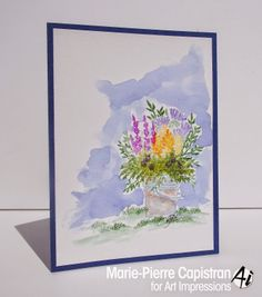 Art Impressions Rubber Stamps: Watercolor the Art Impressions way flower pot card.