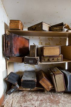 Abandoned State Hospital - these were once peoples only possessions, just a trunk filled with memories.. now thrown aside and left to rot.. quite sad really.