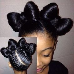 Bows and Braids - http://www.blackhairinformation.com/community/hairstyle-gallery/kids-hairstyles/bows-braids/ #kidshairstyles