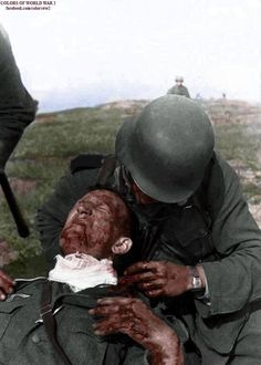 Wounded German soldier being bandaged