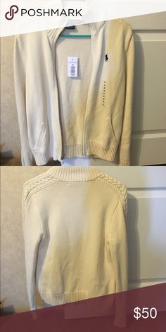 NEW!! POLO women's zip up sweater, size medium. Cream POLO sweater, zip up. Size medium. NEW! Never been worn with tags. Ralph Lauren Sweaters Cardigans