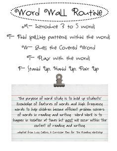 Word Wall Routine & Chants (printables)