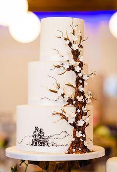 18 Beautiful Handpainted Wedding Cakes ❤ handpainted wedding cakes cake with tree allaboutewe Painted Wedding Cake, Wedding Cake Rustic, Elegant Wedding Cakes, Elegant Cakes, Wedding Cake Designs, Wedding Bride, Wedding Ideas, Forest Wedding, Boho Wedding