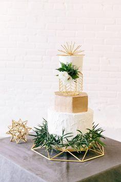 White and Gold with Greenery Geometric Wedding Cake // modern, loft, warehouse, neutral