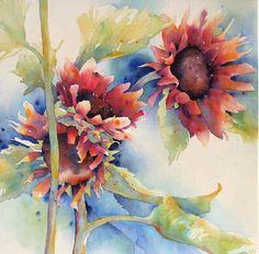 """""""Red Sunflowers"""" by Yvonne Joyner Watercolor ~ 28 in. x 28 in."""