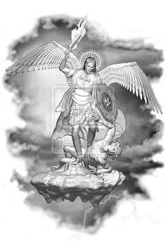 Satan linework by Empyrean-DesignWorks on deviantART St. Michael Tattoo, Archangel Michael Tattoo, Michael Angel, St Michael, Statue Tattoo, Filipino Tattoos, Angel Warrior, Religious Tattoos, Saint Michel