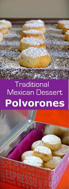 Mexico: Polvorones (Wedding Cookies) Polvorones take their name from the Spanish word polvo which translates to powder. They were introduced to Mexico by Spanish settlers. Traditional Mexican Desserts, Spanish Desserts, Spanish Dishes, Spanish Food, Authentic Mexican Desserts, Spanish Recipes, Spanish Tapas, Mexican Sweet Breads, Mexican Bread