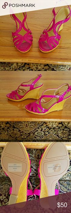 CUTE NINE WEST HOT PINK WEDGE SANDALS Hot pink patent leather Nine West Sandals. These will go great with that outfit you have with the hot pink in it! This is another pair that are just too high for me. They have never been worn! TRYING to walk around the house in them was enough for me to know! The heel is 4 1/2 inches high Nine West Shoes Sandals