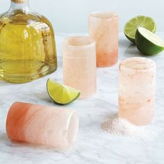Perfect the art of the tequila shot with gorgeous pink Himalayan sea salt glasses ($28 for a set of four). ...