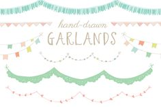 Hand-Drawn Garland Clip Art by Angie Makes on @creativemarket
