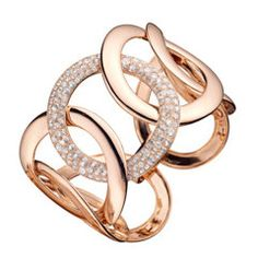 Rose Gold Diamond Link Cuff Bracelet