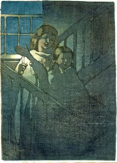 Two young girls on staircase by candlelight. c.1922 Colour woodcut, in the Japanese manner, in grey, blue, pink, yellow and black