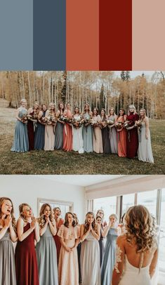 13 Mismatched Bridesmaids Dress Color Palettes to Use Throughout Your Wedding From blue to red this bride gang totally nailed complementary colors game Different Bridesmaid Dresses, Red Bridesmaids, Mismatched Bridesmaid Dresses, Bridesmaid Dress Colors, Wedding Bridesmaid Dresses, Bohemian Bridesmaid, Fall Wedding Colors, Red Wedding, Bridal Party Color Schemes