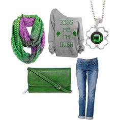 """""""St Patricks Day Casual with Kameleon Pendant"""" by fragrant on Polyvore"""