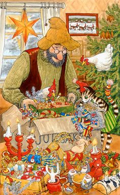 Pettson & his cat Findus; from a series of children's books by Swedish autho… Pettson & his cat Findus; from a series of children's books by Swedish author & illustrator Sven Nordqvist. Swedish Christmas, Scandinavian Christmas, Christmas Art, Vintage Christmas, Illustration Noel, Christmas Illustration, Nordic Art, Whimsical Art, Christmas Pictures