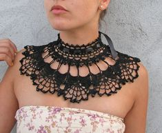 Crocheted with BLACK beads choker/necklace