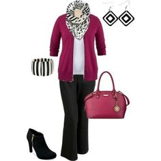 Great look for Apples. Note the column created by the contrasting jacket and top. Slender dark pants are slimming. Dark heels lend height  and length, continuing the colour of the pants to floor level. Neat bag and dangly earrings are another slenderising trick. I'd wear the scarf long, to further enhance the illusion.