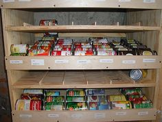 How to Build a Rotating Canned Food Shelf: 14 steps (I think since it's on wheels, the easier solution is to just have slots in the back to load the cans.  You could double the space and simplify the design by a lot, but neat storage idea.)