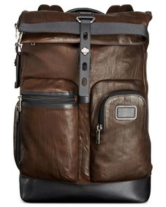 9d2db5c5c6f6 Tumi - Brown Alpha Bravo Luke Roll-top Leather Backpack for Men - Lyst