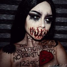 Ouija Speaktress | www.youtube.com/c/SydneyNicoleTheCatsMeow IG @voodoobarbiedoll | Makeup, Ouija Board, Ouija Board Makeup, Horror Makeup, Halloween makeup, Halloween Makeup Ideas, Halloween Inspiration, Halloween Costume Ideas, Gore Makeup, SFX, Special Effects makeup, SFX Makeup, Mykie, Glam and Gore, Creepy, Spooky, Scary, Evil
