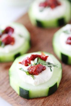 All about these holiday party appetizers. Cucumber Canapés With Whipped Feta, Sun-Dried Tomatoes And Basil