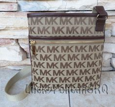 MICHAEL KORS Jet Set Large Mocha Brown Beige Signature MK Crossbody Bag NWT #MichaelKors #MessengerCrossBody