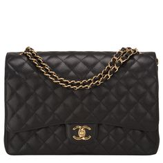 #Chanel Black Quilted Caviar Maxi Classic Double Flap #Bag