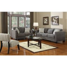 Fabric Sofa In Charcoal Fabric Manhattan Collection
