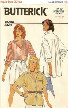 3127 Butterick Misses Shirt, Vintage pattern from 1985 #DressShirt #Butterick3127 #34SleevePattern #SewingPattern #MoondancerCrafts #ButterickPattern #Butterick #VintagePatterns #LongSleeveShirt #1980sPattern