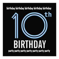 10th Birthday Party Modern Blue and Black W689 Personalized Announcement