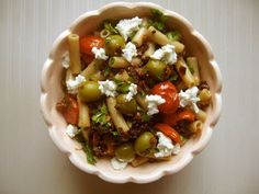 gluten free vegetarian tangy olive and tomato pasta salad