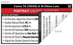 Sample Canon T6 (1300D) Cheat Sheet camera tips.com