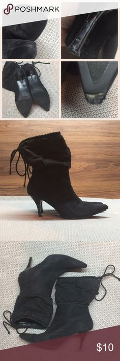 """Fioni Boots Fioni Faux Suede Boots. Black. Size 6.5. Pull on style with tie at top. 3"""" heel. Boot shaft approx 7.5"""". Approx 14"""" calf circumference. Boots need some work. Heels are scratched & sole very worn out as seen in close up pics. Maybe they could be re-soled. Fioni Shoes Heeled Boots"""