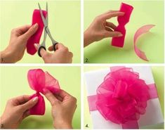 Link to pdf on making bows/gift wrapping from The Container Store. Lots of types of bows! Cute Crafts, Diy And Crafts, Arts And Crafts, Paper Crafts, Craft Gifts, Diy Gifts, Handmade Gifts, Little Presents, How To Make A Pom Pom