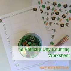 LarabeeUK:  LEARN St Patrick's Day counting worksheet for preschoolers.