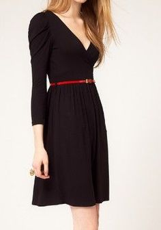 classic black dress/ sleeved/ accented with belt