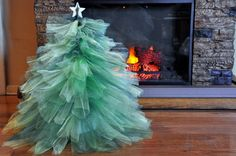 Christmas tree made from tulle. Looks easy and festive.