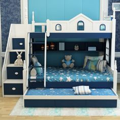 This triple bunk bed is the perfect addition to any child's room The attention to detail, hand painted decor and quality craftsmanship just oozes out of this design This bed design has the single bed located at the top of the stairs and a small double below The stairs are situated on the right hand side of the bed which also provide built in storage And a ladder located to the right also There are built in shelves and also 3 pull out drawers at the bottom Dimensions: 254cm wide x 120cm deep…