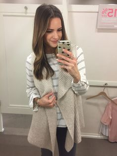 Dressing Room Diaries: LOFT Friendsgiving Sale - The Styled Press Sweater Vest Outfit, Long Sweater Vest, Ribbed Sweater, Fall Fashion Outfits, Fasion, Winter Outfits, Loft Outfits, Fall Capsule Wardrobe, Autumn Winter Fashion