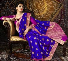 USD 85.09 Blue Silk Party Wear Saree 28918