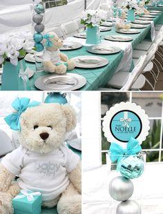 Cute Tiffany themed baby shower.  Love love love the bears as centerpieces.  Sooo cute!