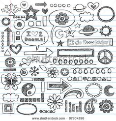 Sketchy Notebook Doodles Set of Hand-Drawn Design Elements with Flowers, Shapes, Hearts, Stars, Arrows and More- Vector Illustration on Line...