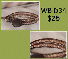 WB-D34 beaded wrap bracelet - Double wrap - brown leather with rainbow transparent cream soda seed beads by 83GypsyRoad on Etsy