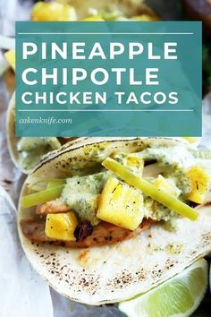 Sheet Pan Pineapple Chipotle Chicken Tacos with Jalapeño Sauce gets dinner on the table in less than 30 minutes, with as little work as possible. Everything is roasted on a sheet pan, the sauce goes into the blender, and the taco fillings are sliced up. Super easy mix of spicy, sweet, and smoky! | cakenknife.com #sheetpandinner #easydinner #sheetpantacos #chipotlechicken #pineapplechicken @sprouts #sponsored Chipotle Chicken, Chicken Tacos, Quesadillas, Nachos, Burritos, Creamy Jalapeno Sauce, Taco Cake, Taco Fillings, Taco Dinner