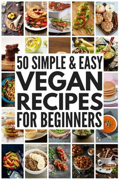Cheap Easy Vegan Meals for Beginners Whether you're looking for vegan recipes for beginners or just need some new plant-based inspiration to keep your menu fresh and appetizing, we've got over 50 vegan meals you'll love, and we've even thrown in som Vegan Meal Plans, Vegan Meal Prep, Vegan Dinner Recipes, Whole Food Recipes, Dessert Recipes, Vegan Menu, Paleo Dinner, Keto Meal, Vegan Recipes For Breakfast